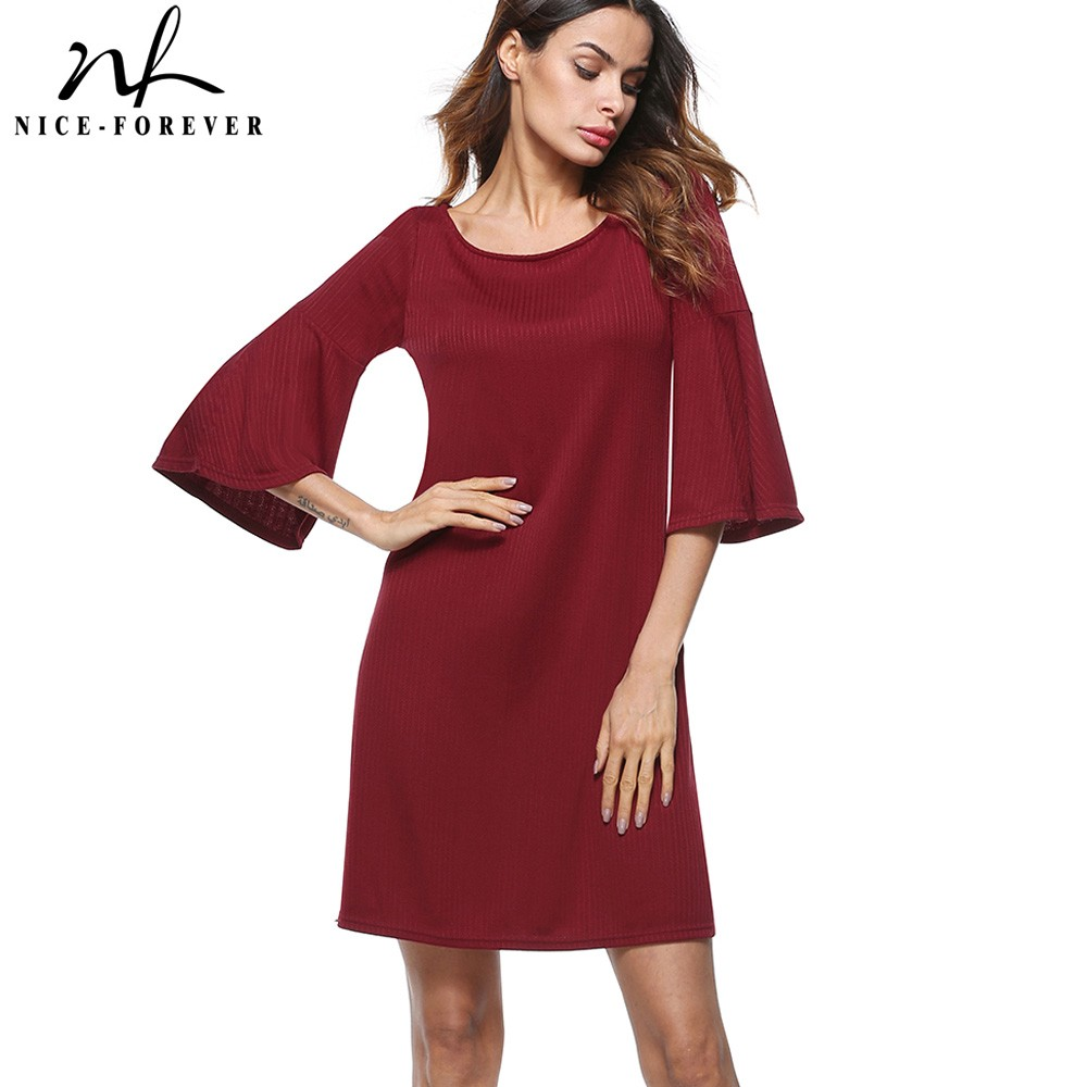 Nice-forever Causal Ladylike Solid Color Round Neck vestidos Trumpet Sleeve Business Women Straight Loose Shift Dress T017
