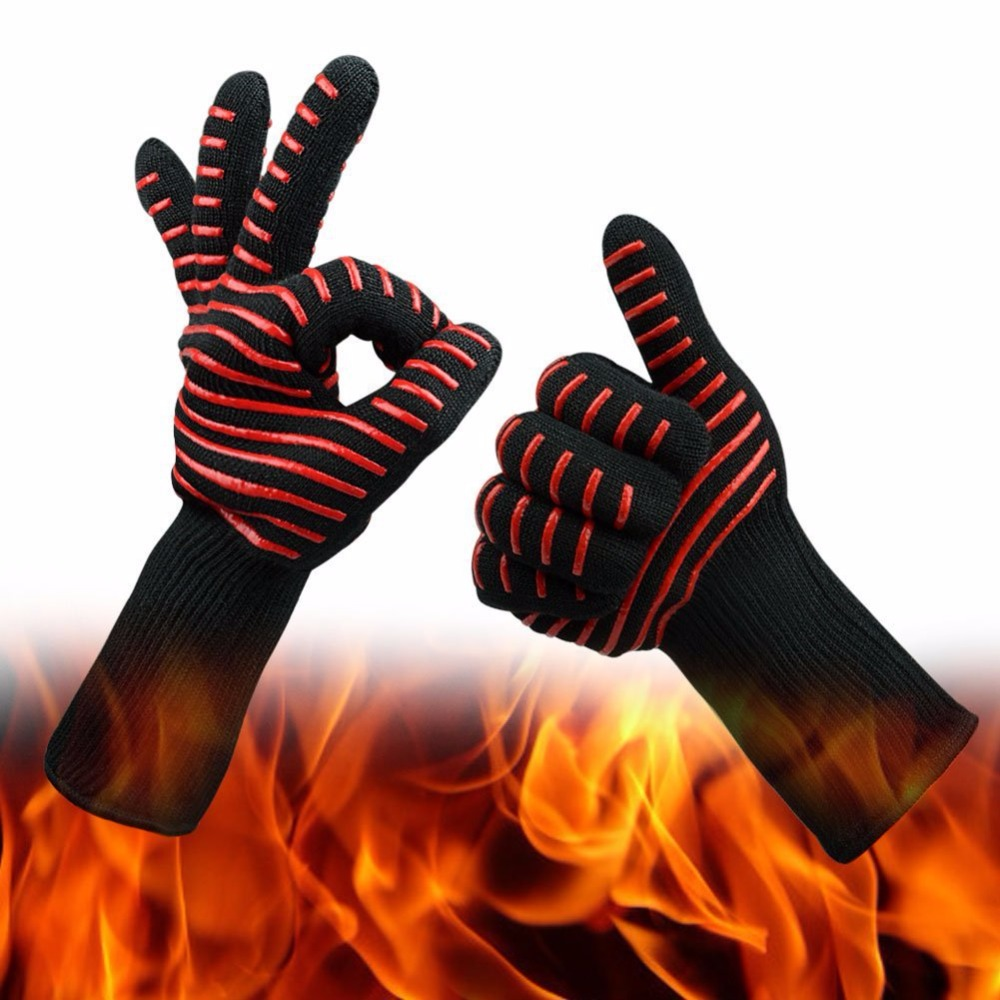 Protear Heat Resistant thick Silicon Kitchen barbecue oven BBQ Grill Cooking Glove Long Extreme Heat For Forearm Protection mr grill heat resistant oven