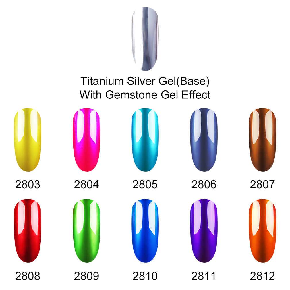 Inagla بريق التيتانيوم الفضة UV مسمار البولندية لتقوم بها بنفسك هلام الورنيش الأحجار الكريمة الزجاج 8 مللي تأثير مرآة معدنية جيل للأظافر نقع قبالة Gellak