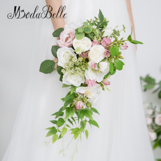 modabelle Rose Peonies Cascade Bridal Bouquet Artificial White ...