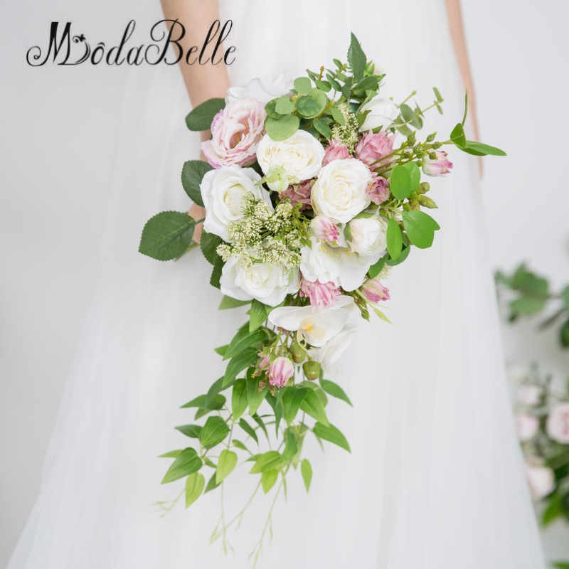 Modabelle Rose Peonies Cascade Bridal Bouquet Artificial White