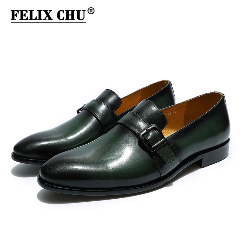цена на FELIX CHU Elegant men's loafer monk strap genuine leather black green casual dress shoes slip on wedding party mens formal shoes