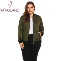 IN VOLAND Women Bomber Jacket Coat Plus Size XL 4XL Classic Stand Collar Lager Zip Up