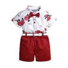 3 Pcs/set Children Girls Boys Clothes Fashion Printing Kids Short Sleeve Shirt and Set with Belt
