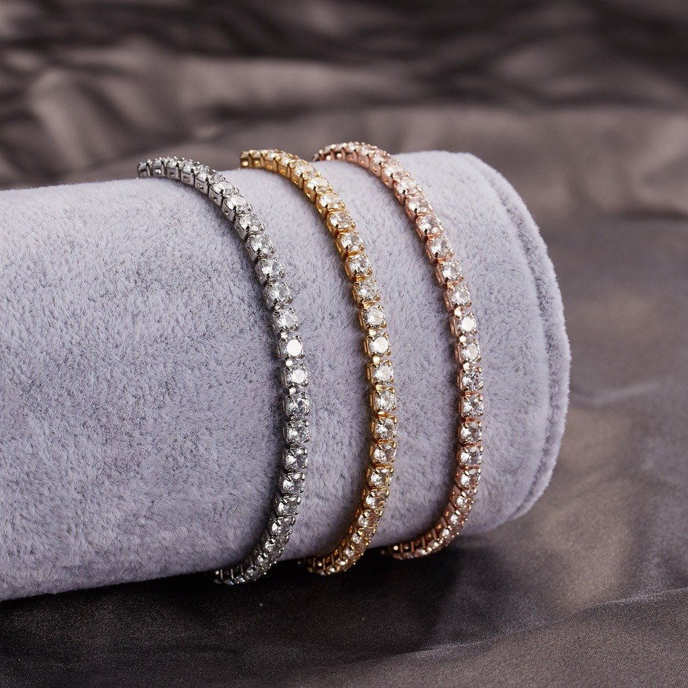 RINHOO Fashion Cubic Zirconia Tennis Bracelet & Bangle Adjustable Pulseras Mujer Charm Bracelet For Women Bridal Wedding Jewelry 2
