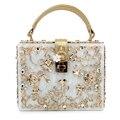 Mulheres lady ouro diamante alívio Acrílico Urnas bloqueio bolsa de luxo da noite saco de embreagem para a festa da bolsa (C003)