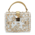 women lady gold diamond relief Acrylic Ballot lock  luxury handbag evening bag clutch  for party purse (C003)