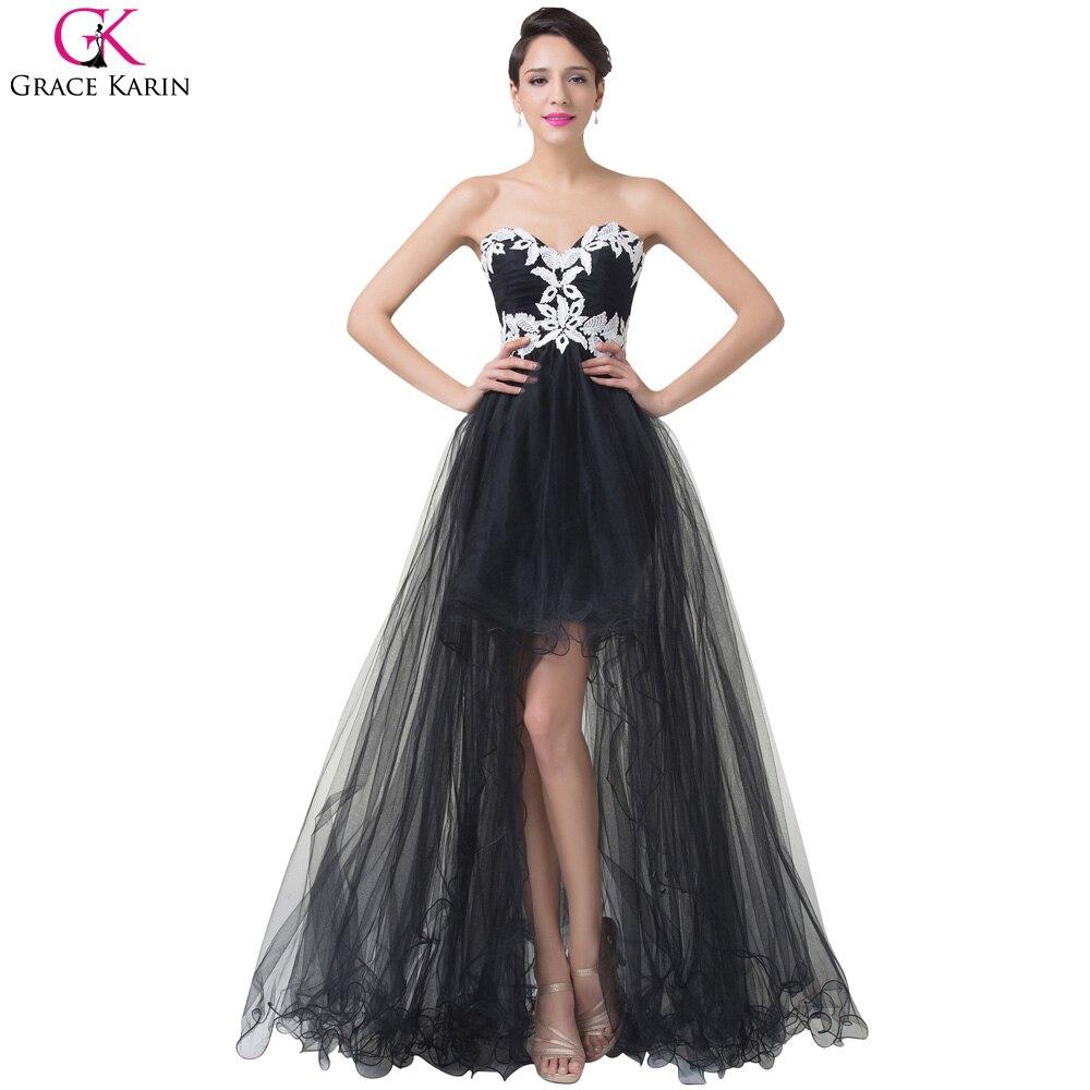 Grace Karin Black Evening Dress Long 2017 Lace Appliques Front ...