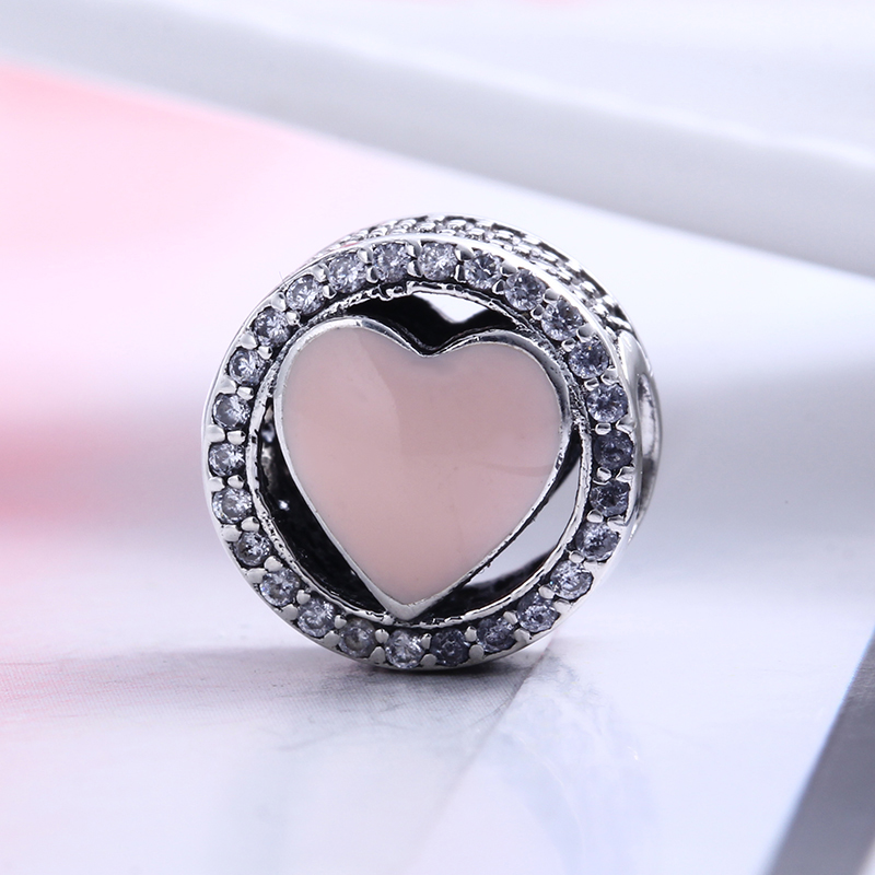 100% 925 Sterling Silver Fit Original Pandora Bracelet Pink Wonderful Love Charms Clear CZ Round Charm Beads for Jewelry Making