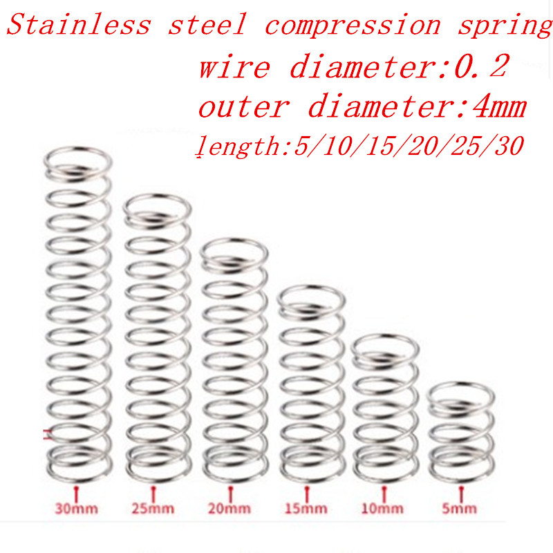 20pcs/lot 0.2*4*5/10/15/20/25/30/35/40/45/50mm 0.2mm Stainless Steel Micro Small Compression spring OD 4mm(China)