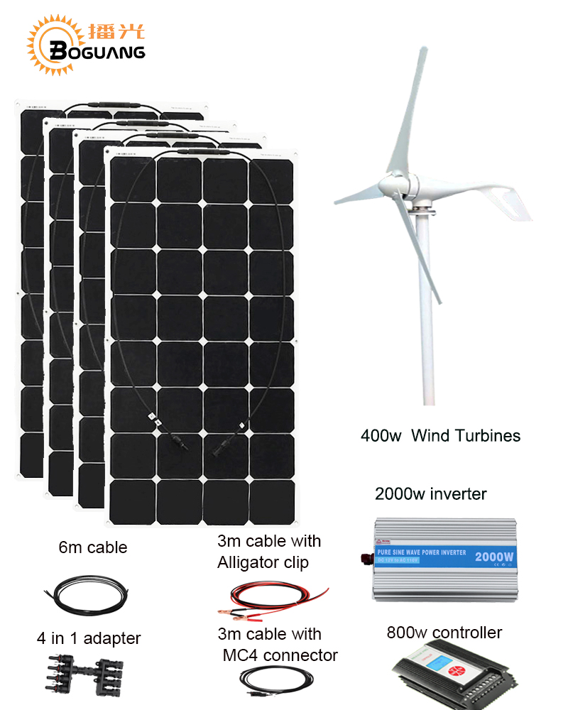 BOGUANG 400W+400W solar panel and wind turbine generator DIY kit home house module mobile dc 12v/24v off grid tie turbine system dc house usa uk stock 300w off grid solar system kits new 100w solar module 12v home 20a controller 1000w inverter