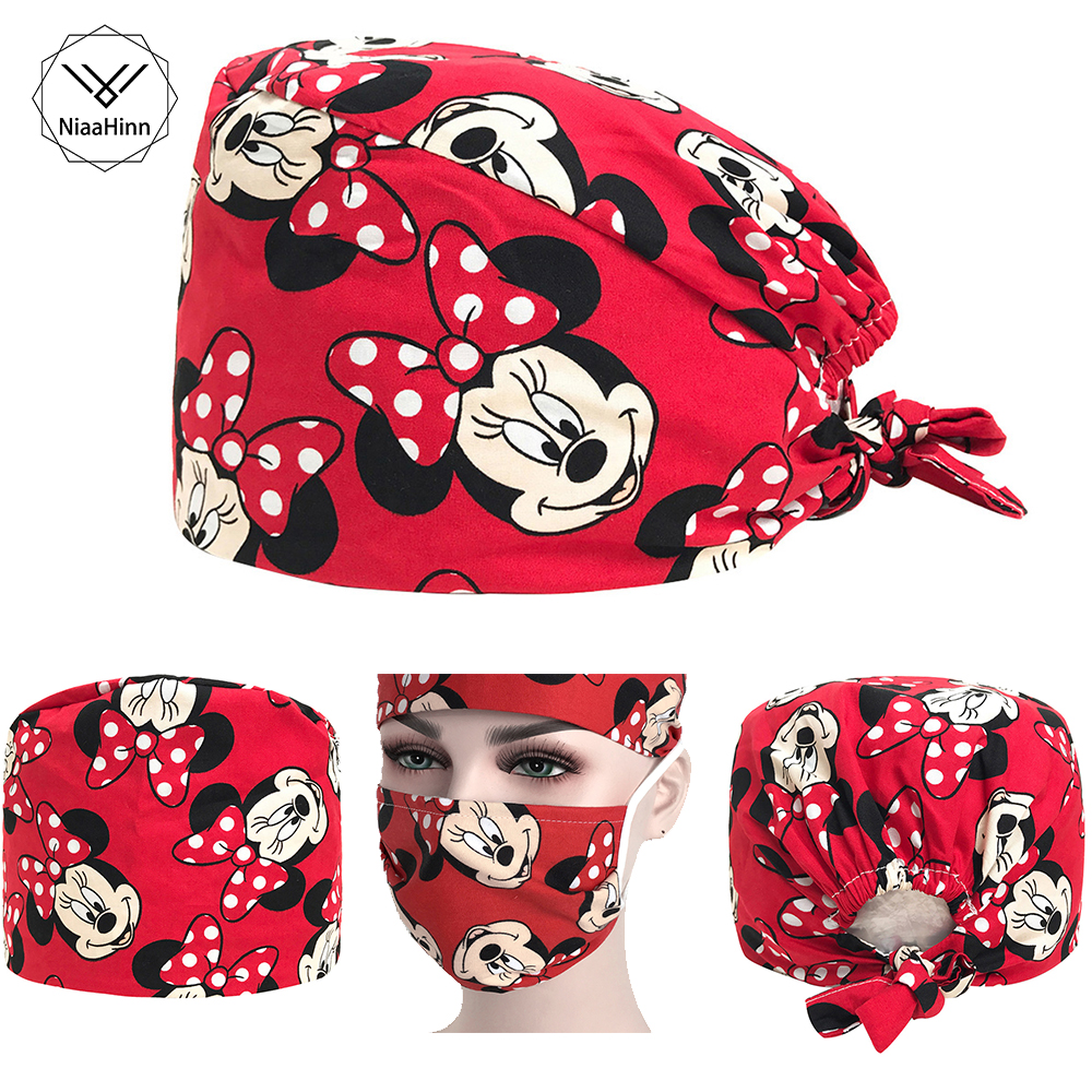 Surgical Cap Unisex Adjustable Dental Doctor Nurse Working-wear Medical Lab Clinic Operation Hats Printing Masks And Caps