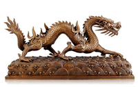 Copper decoration Fine Buddha Brass Large Chinese Animals Bronze statue of flood Dragon Wealth Luck valuable gifts of the Office
