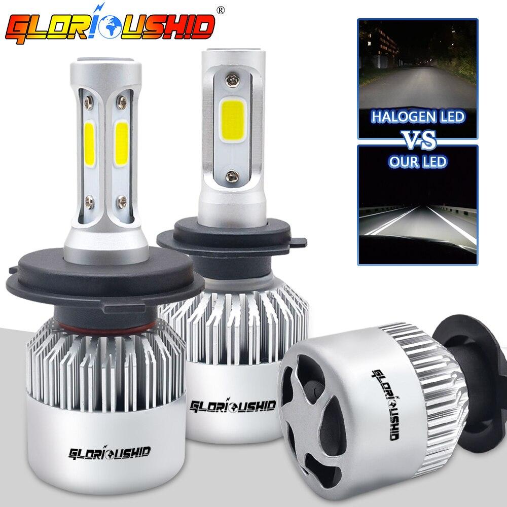 H7 bombilla LED H4 H1 H11 HB4 9005 9006 HB3 S2 COB Chips 72 W 8000LM 6500 K de la linterna del coche bombillas H3 H27 de niebla del coche LED de luz de la lámpara