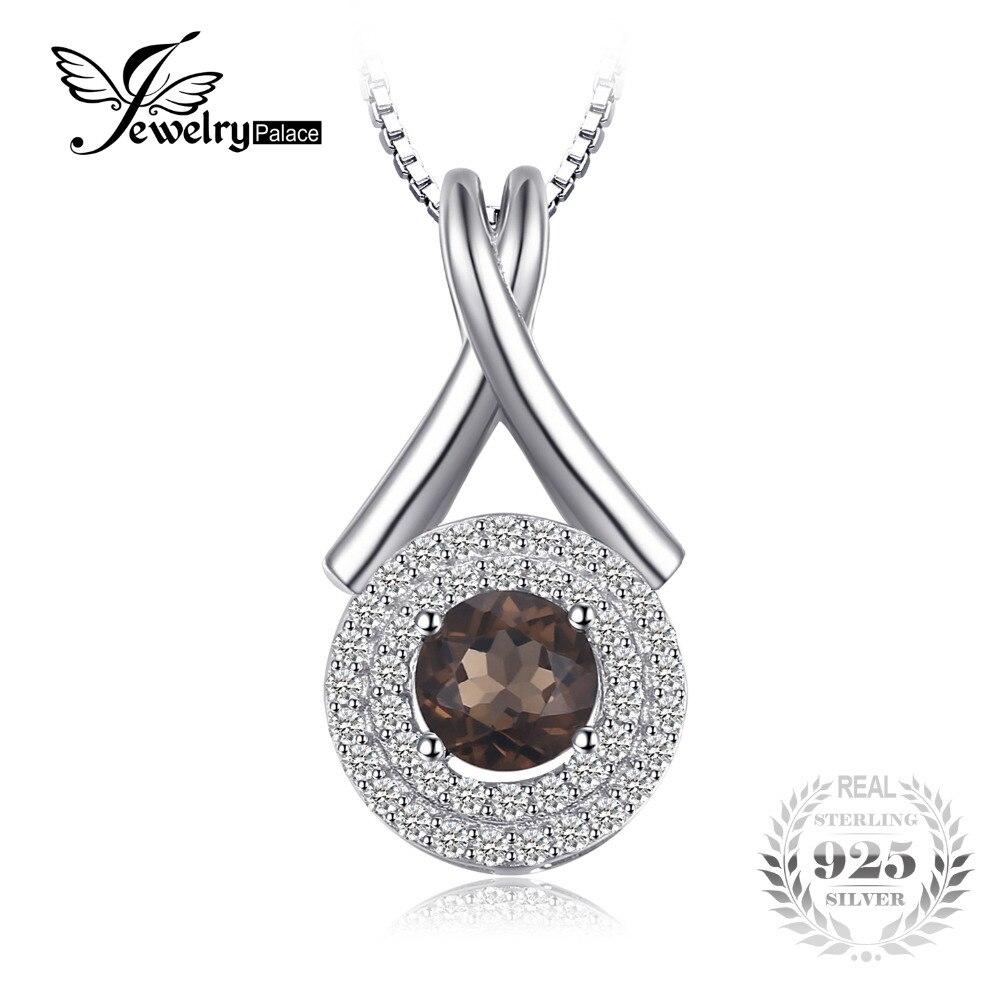 JewelryPalace Mode X marque 0.65ct Naturel Quartz Fumé Rond Pendentif S925 Sterling Argent Fin Bijoux Sans Chaîne