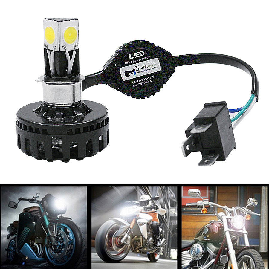1Pc H4 H6 BA20D LED Motorcycle Headlight Bulb High Low Beam Fog Light Lamp 2000lm For