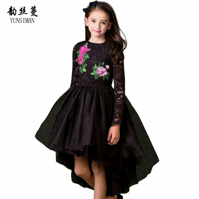 2018 Spring Girls Lace Dress Size 3 4 5 6 7 8 9 10 Years Girls Princess Black Embroidered Flower Tail Dresses Kids Clothing 3C06 20pcs m3 copper standoff spacer stud male to female m3 4 6mm hexagonal stud length 4 5 6 7 8 9 10 11 12mm