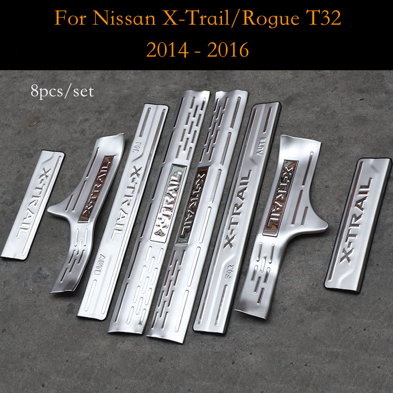 For Nissan X Trail T32 2014 to 2016 Door Sill Scuff Plate Cover Welcome Pedal Trim Stainless Steel Car Styling Accessories