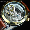 Gold Tourbillon Automatic Mechanical Watch Men Transparent Skeleton Wristwatch Male Fashion Sport Business Watch Gift With