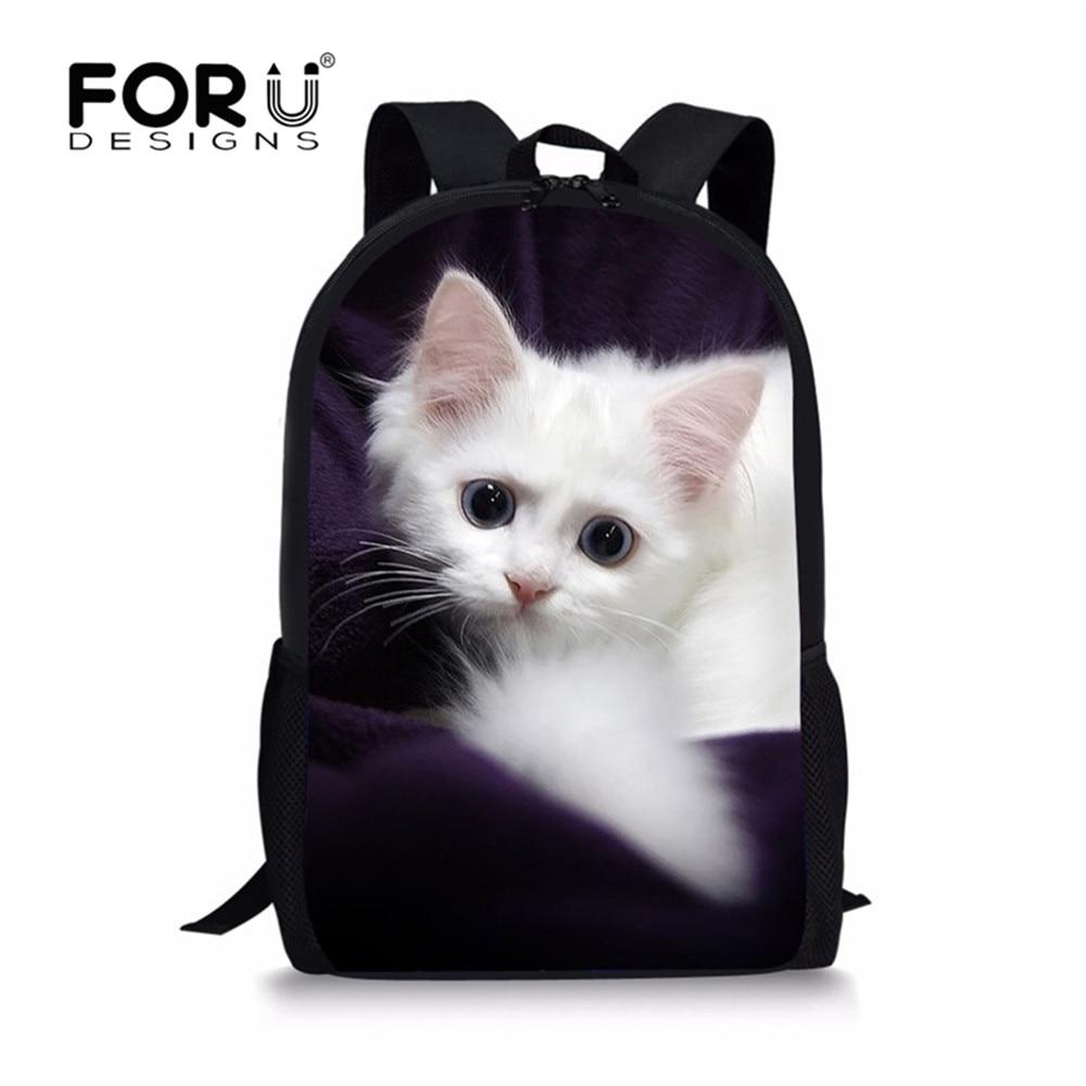 FORUDESIGNS Adorable Kitten Cat School Bags for Teenage Girls Backpack Student Bookbag Kawaii Purple Rucksack Mochila 2018 New
