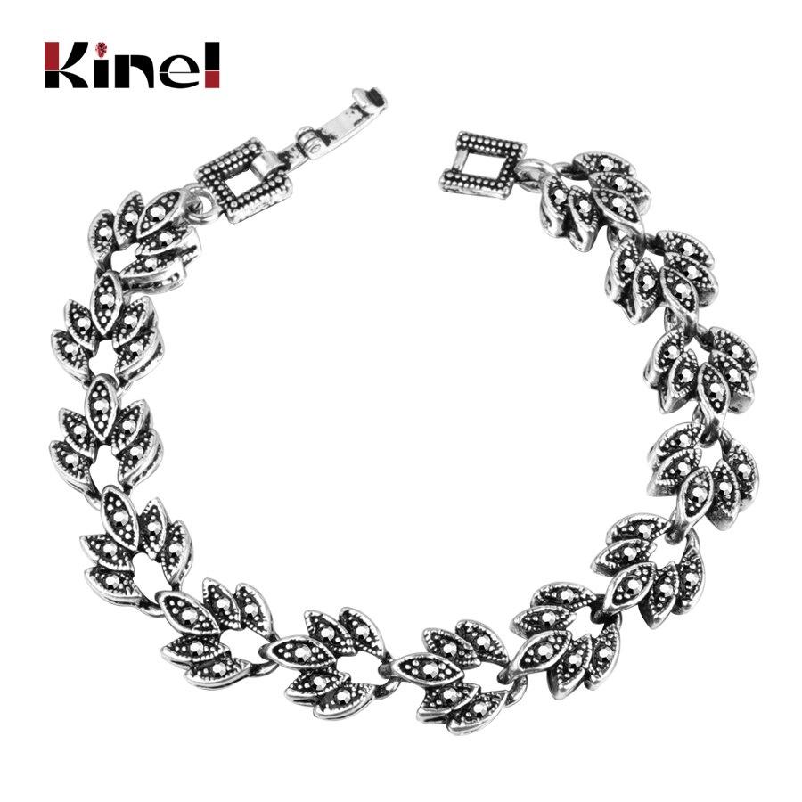 Kinel Fashion Gray Crystal Bangle Bracelets Silver Color Tree Leaf Bracelet Womens Vintage Jewelry(China)