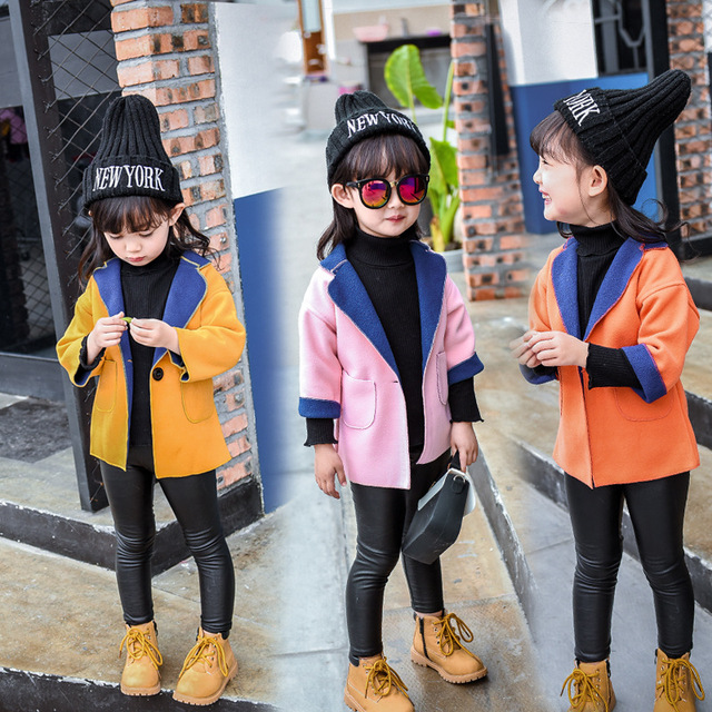 fashion solid baby girl coats and jackets 2017 kids clothes for girls wool coat 2-8years children fleece clothing kids outerwear