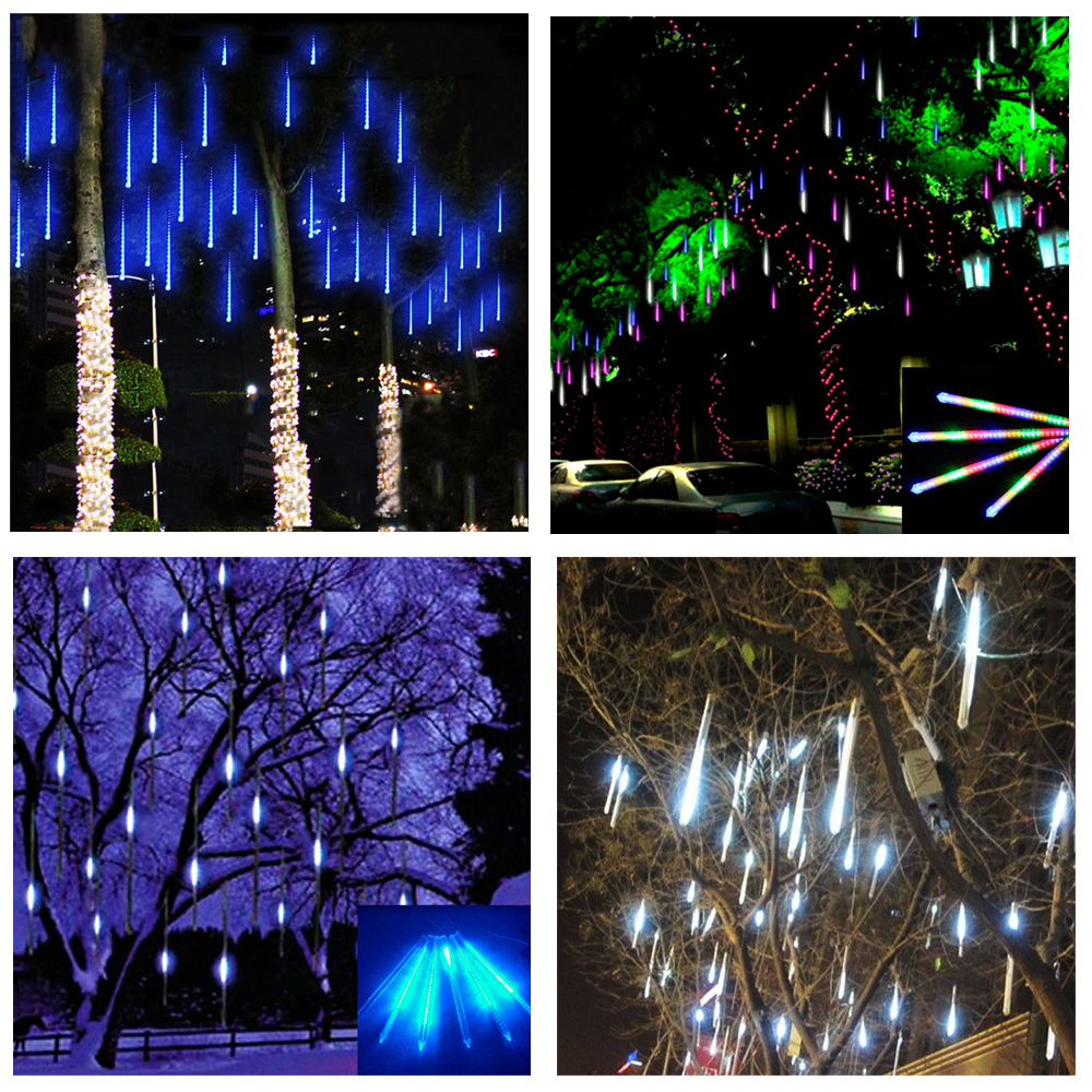 Waterproof 8 Tube 50cm Holiday Meteor Shower Rain LED String Lights For Indoor Outdoor Gardens Xmas Christimas Party Decor Tree