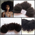 10A grau virgem mongol afro crespo cabelo encaracolado 4b / 4c cabelo tece mix para africano americano afro afro grosso