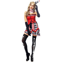 New Woman's Halloween Costumes sexy Women Funny Clown Circus Cosplay Disfraces Circus Clown Costumes Actress