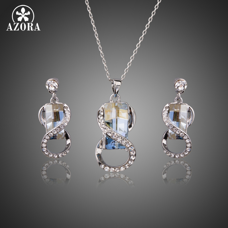 AZORA Wedding Engagement Jewelry for Women White Gold Color Big Blue Crystal with Necklaces Earring Jewelry