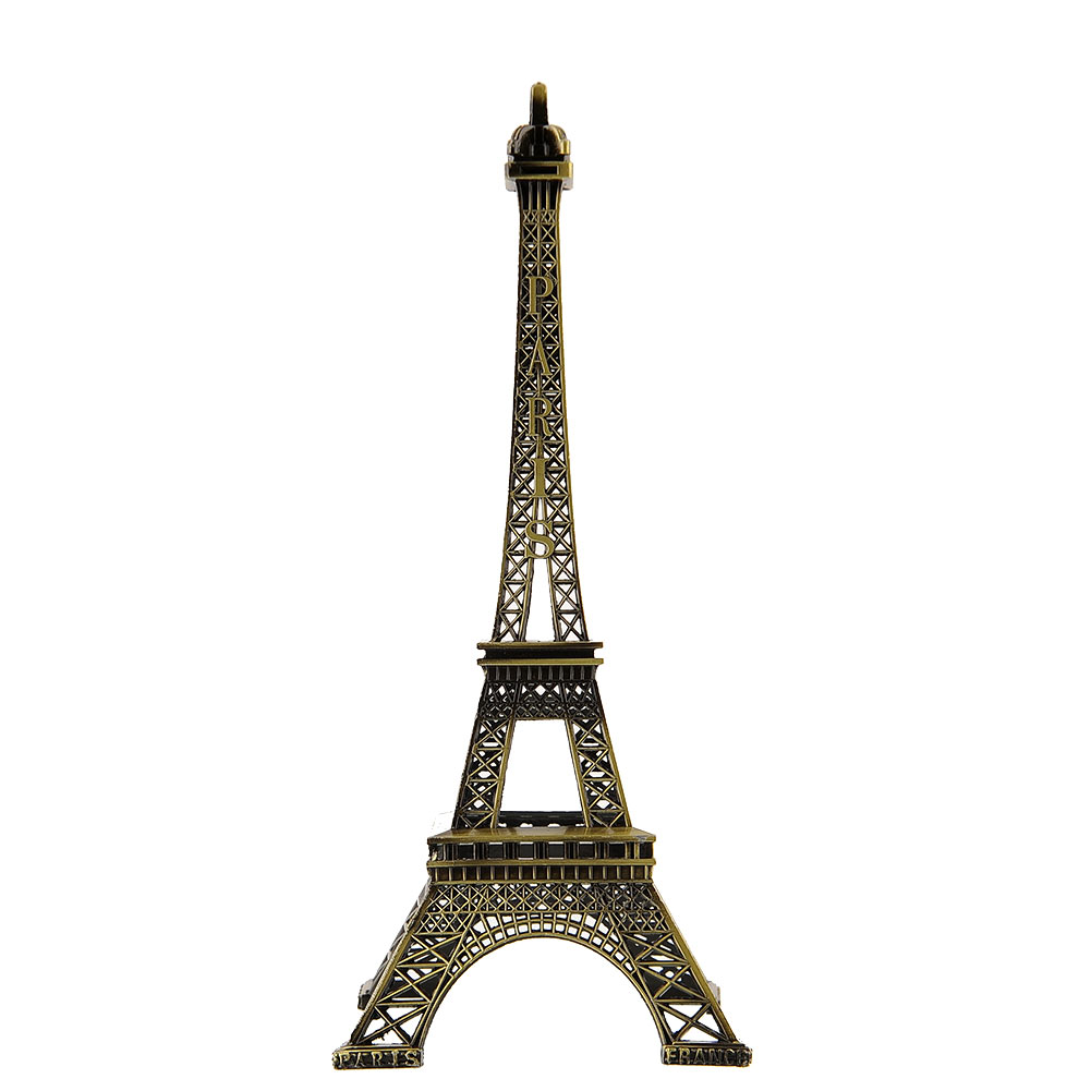 25cm Bronze Tone Paris Eiffel Tower Figurine Sculpture Antique Model Decors Cheerleader Souvenir