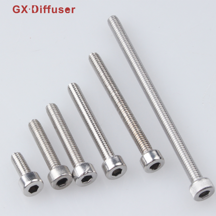 GX Diffuser Screw M4 Wood Screws Hex Socket Stainless Steel Inch Spacer Hardware Furniture Fastener Bolt M4*10/20/25/30/40/65mm 60pcs box stainless steel m4 screw kits hex socket head cap screws m4 6 8 12 16 20 25mm fastener assortment kit hardware tools