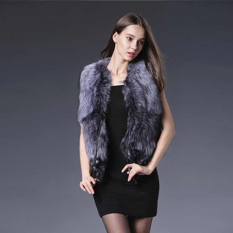2018 heißer Verkauf Regelmäßige Echt Pelz Weste Mode Natürliche Fuchs Pelz Westen Frauen Echt Splitter Gilets Echte Westen Luxuriöse Mantel