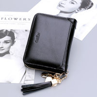 Ouliss Women Card Holder Zipper Pocket Card Kimono Large Capacity Oil Wax Cow Leather Tassel Pendant