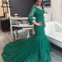 Vintage 2018 Teal Mermaid Prom dresses with 3/4 Sleeve Appliques graduation dresses V Neck Evening Prom Dress for Women