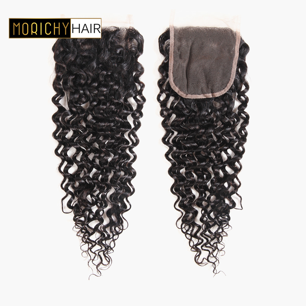 MORICHY Brazilian Kinky Curly Hair Lace Closure Free Part 4X4 Swiss Lace 100% Remy Human Hair Natural Color