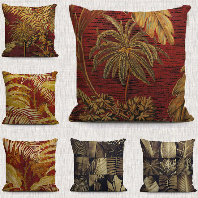 Beau Vintage Tropical Plants Decorations Pillows Case Palm Tree Stitching  Pattern Throw Cushion Covers For Home Sofa
