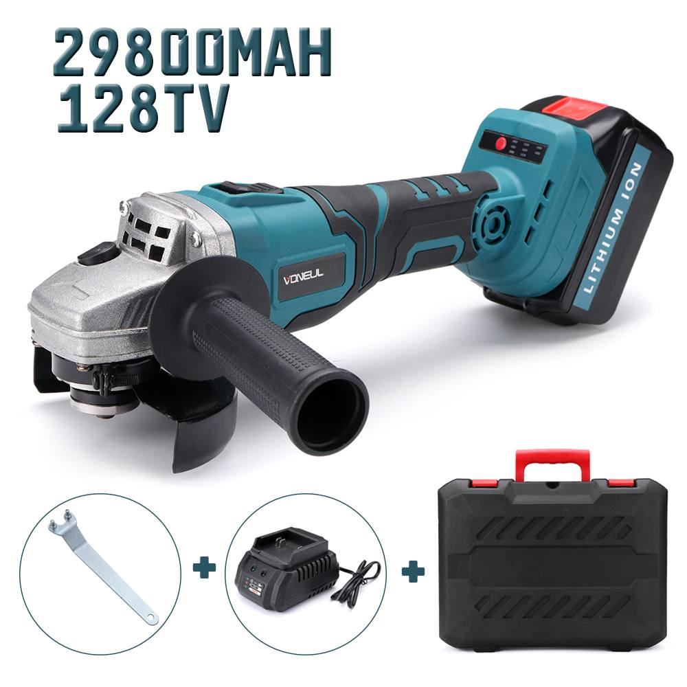 128tv/29800mA Electric 100mm Angle Grinder Power Cutting Tool Rechargeable Lithium Battery Upgrade Chainsaw Bracket Grinder