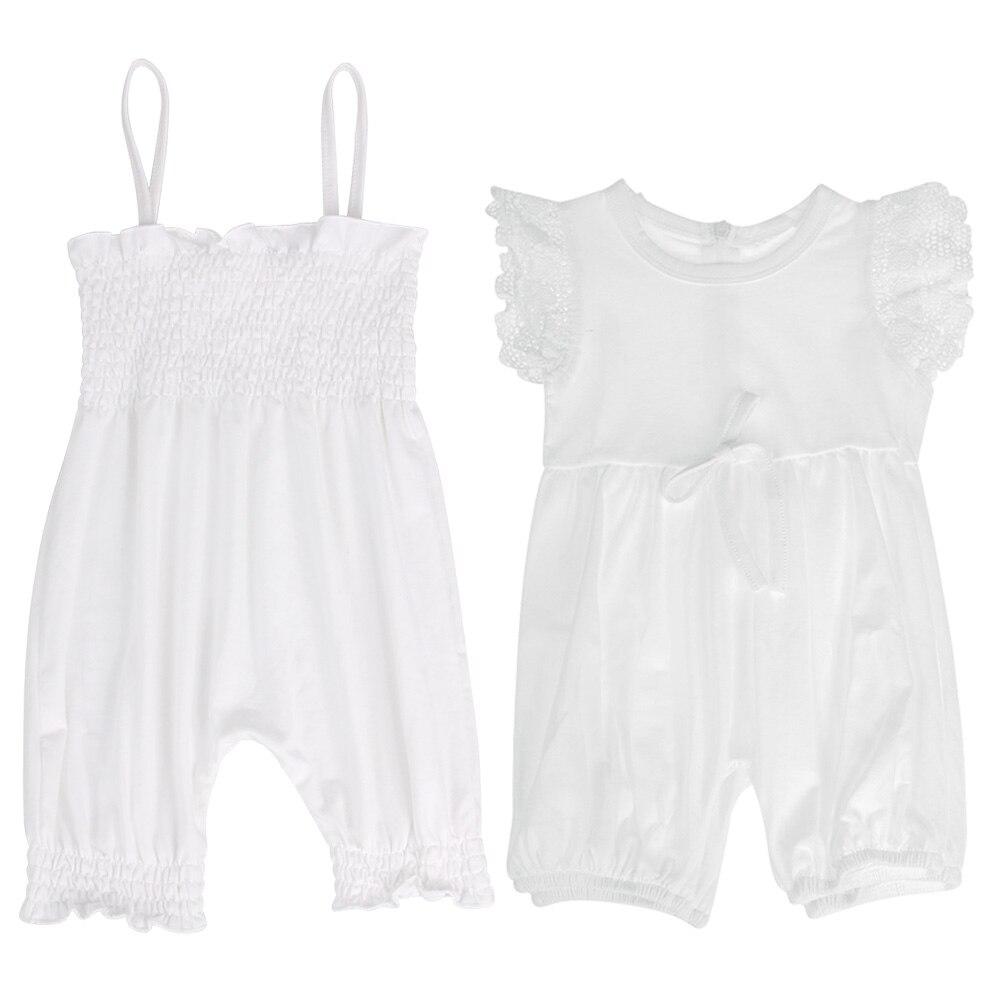 12-36 Monat Mode Baby One-piece Spielanzug-overall-spielanzug Sommer Kleidung Kids Pure Weiß Straps Sleeveless Beiläufige Strampler
