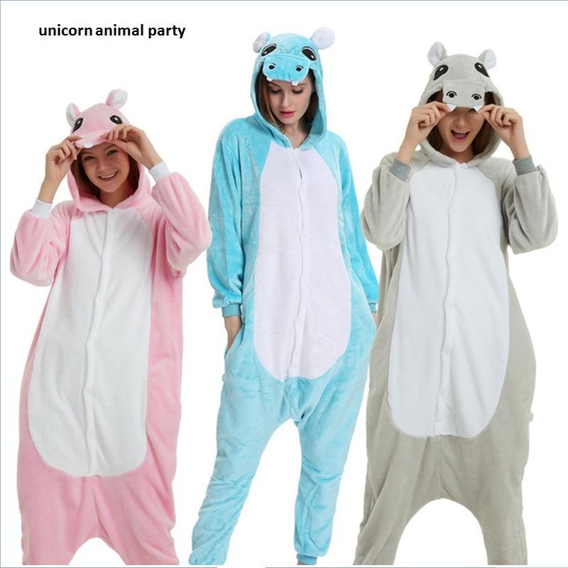 Kigurumi Tecknad djur samlad Halloween Hippo Onesie Pyjamas Jumpsuits Rompers Vuxen Sleepsuit Pyjamas kostym Cosplay