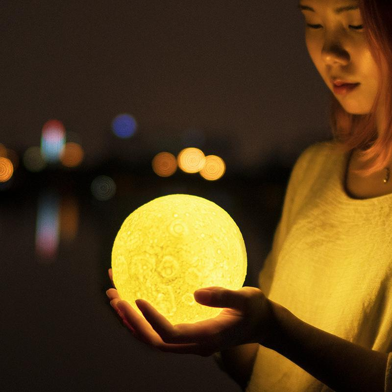 3d Moon Led Table Lamp Luna Private Touch-sensing Switch Desk Lamps Custom Gift Charging Luminaria De MesaMoon Night Light 3d led usb wooden night table lamp desk light modern luminaria de mesa acrylic kid bedroom bulbing creative gift abajur 110 240v