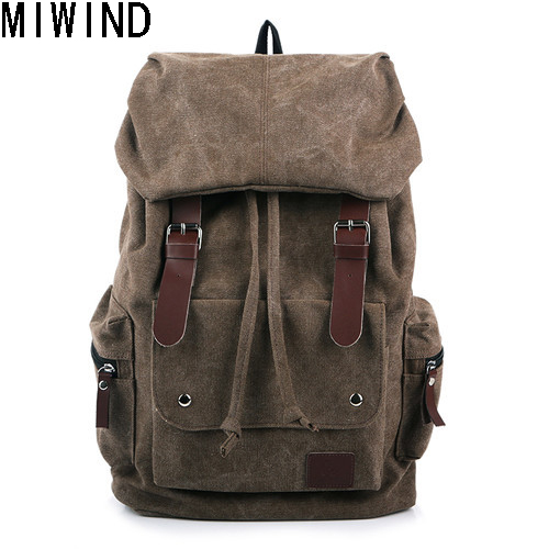 MIWIND Canvas Backpack Preppy Style School Backpacks Laptop Bags Drawstring Bag School Bag Men Travel Bags Mochila T1066 13 laptop backpack bag school travel national style waterproof canvas computer backpacks bags unique 13 15 women retro bags