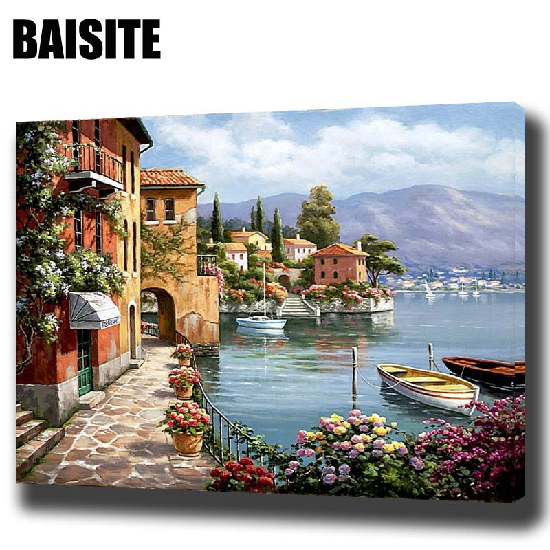 Baisite Diy Framed Oil Painting By Numbers Landscape