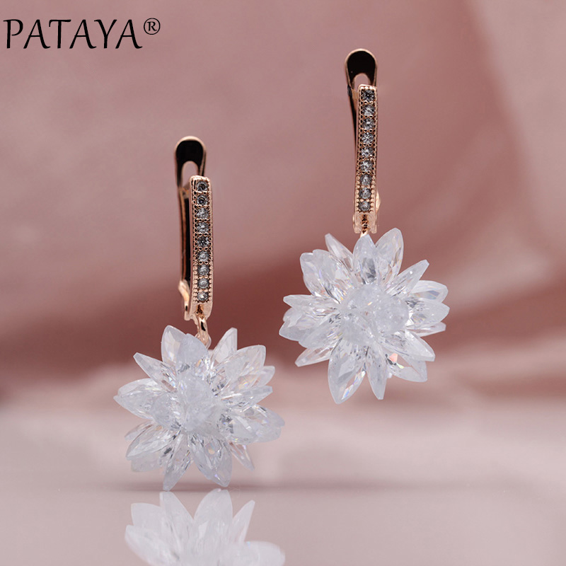 PATAYA New 585 Rose Gold Micro Wax Inlay Manual Ball Natural Zirconia Long Dangle Earrings Women Wedding Luxury Tassel Jewelry
