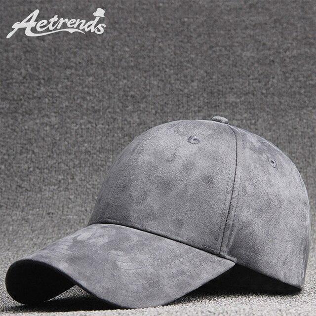 a60e542f650d4  AETRENDS  2018 New Suede Baseball Cap Men Women 6 Panel Snapbacks Outdoor  Sport Hats Z-6280