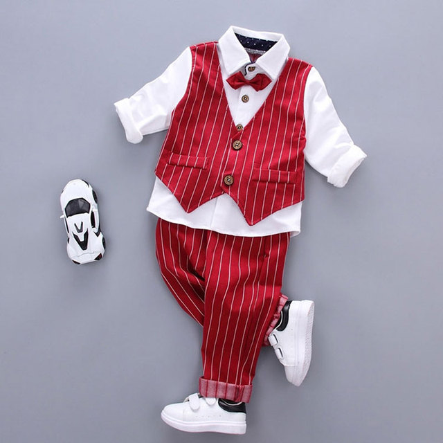 2017 Spring fall Boy Baby Clothes Brand Gentleman Set for infant Baby boys Clothing Outfit Fashion Striped sleeve suit 2pcs sets