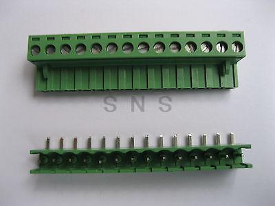 30 pcs 5.08mm Angle 14 pin Screw Terminal Block Connector Pluggable Type Green стоимость