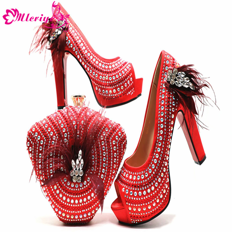 Women Shoes and Bag Set In Italy Red Color Italian Shoes with Matching Bag Set Decorated with Rhinestone Nigerian Wedding ShoesWomen Shoes and Bag Set In Italy Red Color Italian Shoes with Matching Bag Set Decorated with Rhinestone Nigerian Wedding Shoes