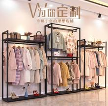 Clothing store rack height cabinet combination mens and womens clothing shelves hanging double