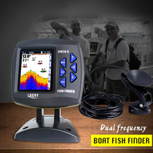 LUCKY Wired Boat Fish Finder Water Depth Detecting 100m/328ft Dual Frequency Fishing  Alarm Sensor Sonar Fishfinder FF918-C